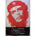 Che Guevara (face text) flagga tygaffisch