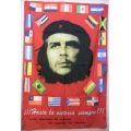 Che Guevara (nations flags around) flagga tygaffisch