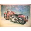 Harley - Flames. gammal posterflagga SAMLAROBJEKT