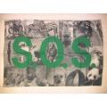 Djur flagga - SOS Victims wild animals. Posterflagga