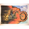 Harley - Easyriders Chopper flames posterflagga från 1990